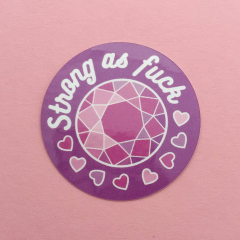 Strong As Fuck Vinyl Sticker In Pink And White Color