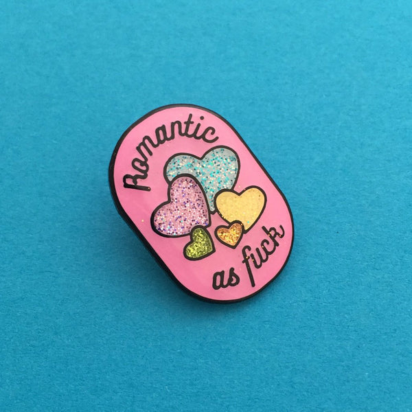 Romantic As Fuck Valentine's Glitter Enamel Pin