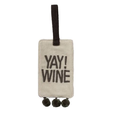 Yay! Wine Velvet Wine Bottle Tag with Pom Trim Details