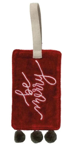 Be Merry Velvet Wine Bottle Tag with Pom Trim Details