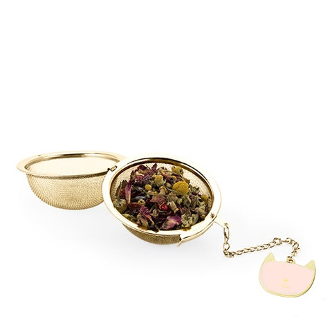 Gold Tea Ball Infuser with Charmed Pink Cat Charm