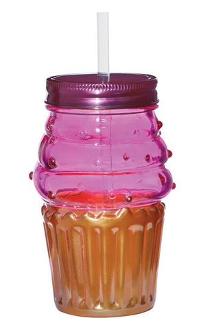 Cupcake Sipper in Pink and Orange