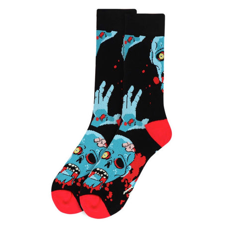 Zombie Men's Socks in Black and Blood Red