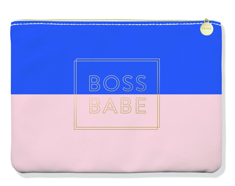 Boss Babe Pink Blue Gold Cute/Cool/Unique Zipper Pouch/Bag/Clutch/Cosmetic/Makeup Bag
