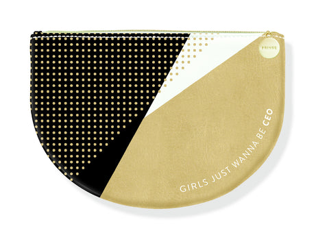 Girls Just Wanna Be CEO Gold Black Cute/Cool/Unique Zipper Pouch/Bag/Clutch/Cosmetic/Makeup Bag