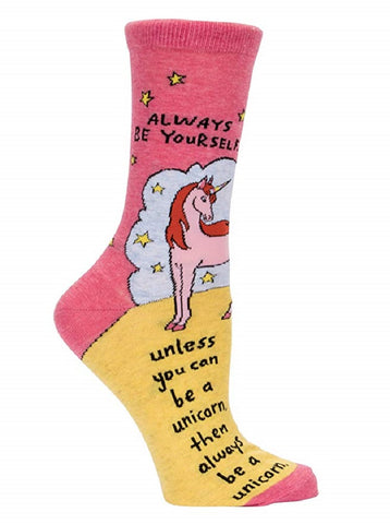 Always Be a Unicorn Women's Crew Socks in Pink and Yellow