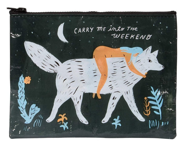 Carry Me Into the Weekend Lady and Wolf Cute/Cool/Unique Zipper Pouch/Bag/Clutch/Cosmetic Bag