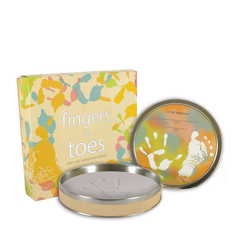 Tiny Treasures Clay Handprint/Footprint Kit in Keepsake Tin