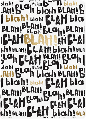 Blah Blah Blah Soft Cover Journal in Shiny Gold Foil