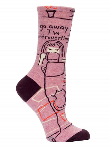 Go Away I'm Introverting Women's Crew Socks in Pink