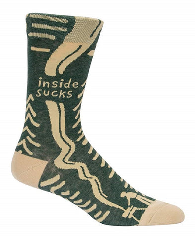 Inside Sucks Men's Crew Socks in Dark Green