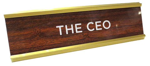 The CEO Nameplate in Brown, White and Gold