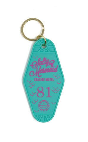 Salty Mermaid Seaside Motel 81 Keychain in Teal