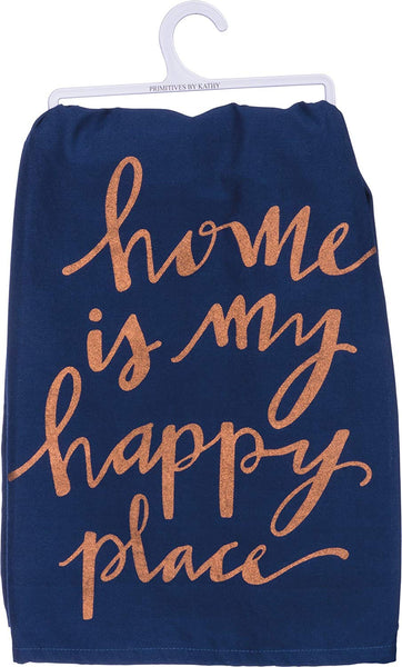 Home Is My Happy Place Dish Cloth Towel / Novelty Tea Towels / Cute Farmhouse Kitchen Hand Towel