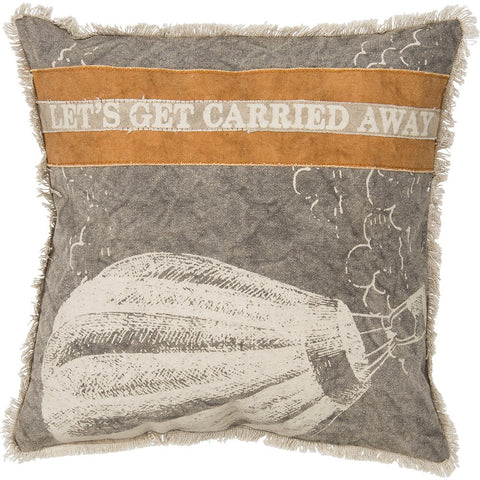 Let's Get Carried Away Canvas Throw Pillow in Hot Air Balloon Design