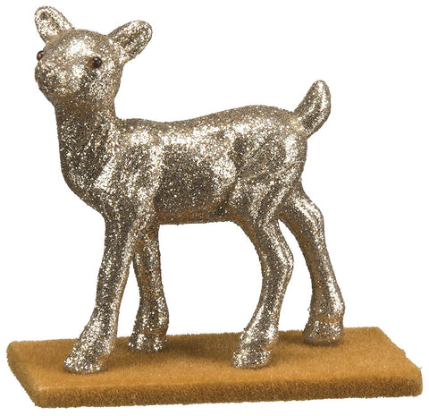 Small Walking Doe Deer Champagne Glitter Decor