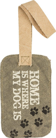 Home Is Where My Dog Is Gray Canvas Luggage Tag