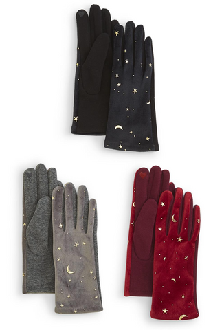 Witchy Gold Stars and Moon Velvet Gloves with Touch Screen Fingertips (3 Color Options)