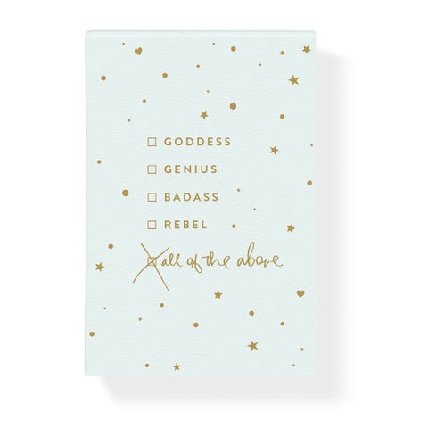 Goddess Genius Badass Rebel All Of The Above Notepad in Vegan Leather Hardcover