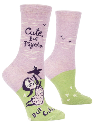 Cute, But Psycho Women's Crew Socks, Hipster/Nerdy/Geeky/Trendy, Pink Funny Novelty Socks with Cool Design, Bold/Crazy/Unique Dress Socks