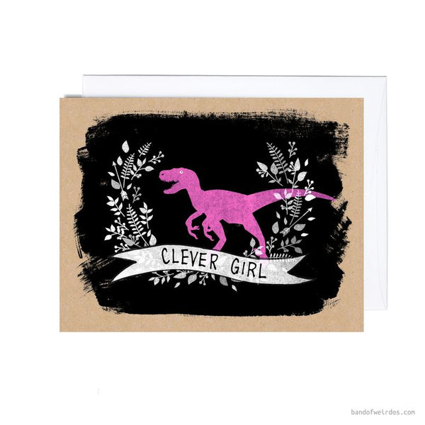 Clever Girl Dinosaur Greeting Card