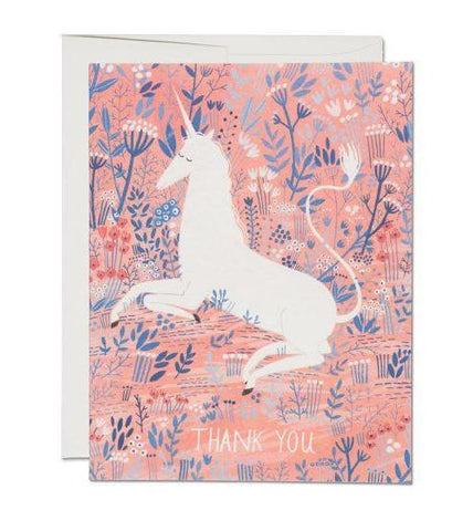 Unicorn Greeting Card in Pink Florals