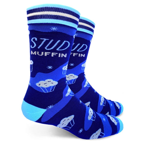 Stud Muffin Men's Crew Socks in Blue