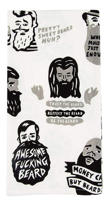 Awesome Fucking Beard Screen-Printed Funny Sweary / Snarky Dish Cloth Towel / Novelty Silly Tea Towels / Cute Hilarious Retro Kitchen Hand Towel