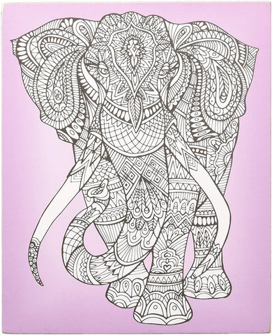 Elephant Color It Yourself Block Sign, Coloring Project For Adults, Decorative Wall Art for Living Room/Bedroom/Dining Room