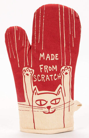 Made from Scratch Oven Mitt in Red and White Cat Design