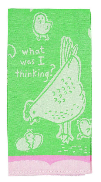 What Was I Thinking Woven Pink Green Funny Snarky Dish Cloth Towel / Novelty Silly Tea Towels / Cute Hilarious Farmhouse Kitchen Hand Towel