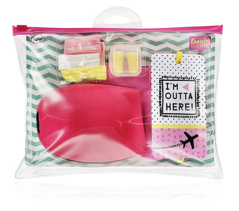 I'm Outta Here 7 Piece Beauty Junky In-Flight Essential Travel Comfort Kit | Cute and Giftable Travel Pack