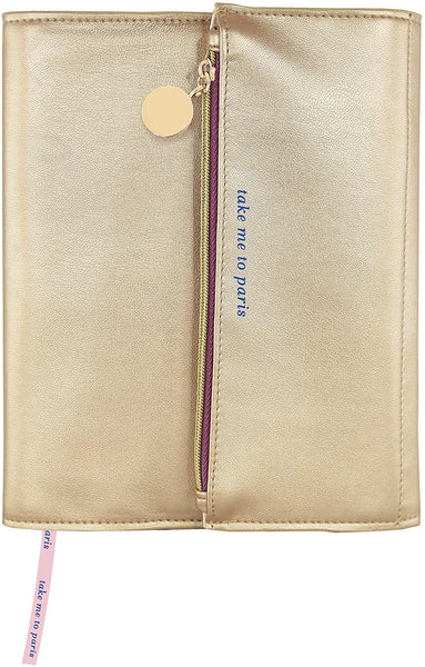 "Take Me To Paris Soft Gold Vegan Leather Clutch Journal | 160 lined pages | 6.25"" x 8"""