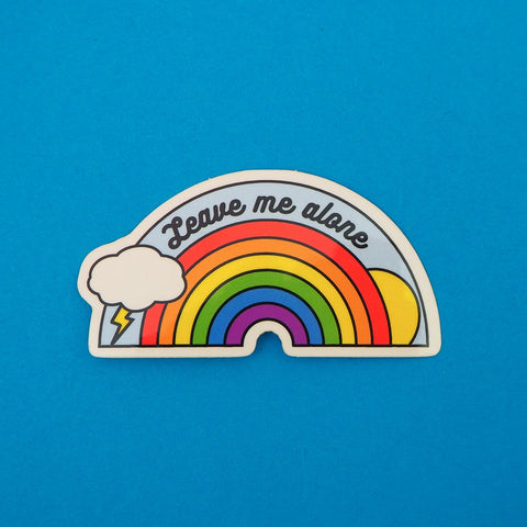 Leave Me Alone Vinyl Sticker With Rainbow Design