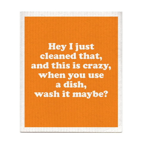 Wash It Maybe Carly Rae Jepsen Lyrics Orange White Cellulose/Cotton Compostable Dishcloth
