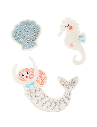 Mermaid Embroidered Fabric Brooches with Shell and Seahorse
