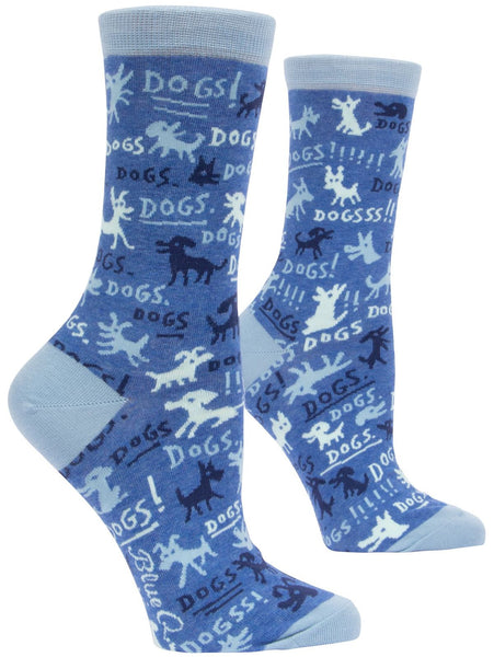 Dogs! Women's Crew Socks, Hipster/Nerdy/Geeky/Trendy, Quirky Funny Novelty Socks with Cool Design, Bold/Crazy/Unique Dress Socks