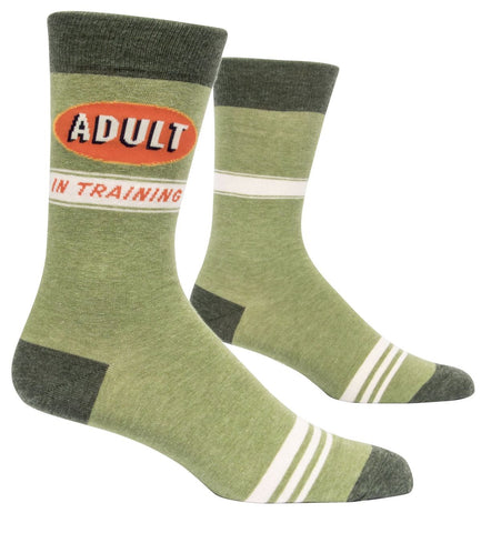 Adult In Training Men's Crew Socks, Hipster/Nerdy/Geeky/Trendy, Green Funny Novelty Socks with Cool Design, Bold/Crazy/Unique Specialty Dress Socks