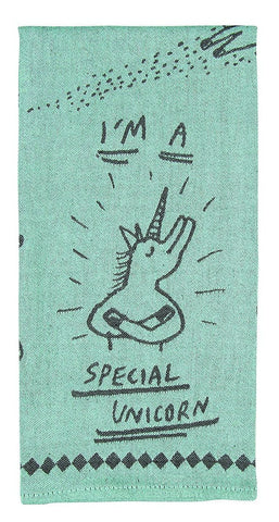 I'm A Special Unicorn Woven Blue Funny Snarky Dish Cloth Towel / Novelty Silly Tea Towels / Cute Hilarious Unique Kitchen Hand Towel