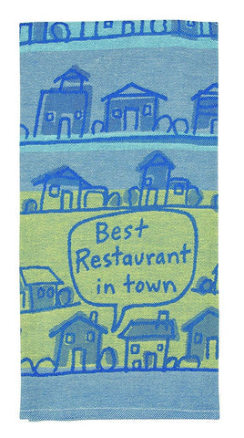 Best Restaurant in Town Woven Dish Towel in Lined Houses