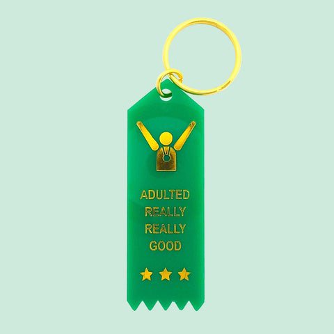 Adulted Really Really Good Plastic Keytag in Shamrock Green