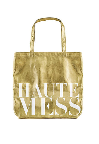 Haute Mess Tote Bag in Metallic Gold