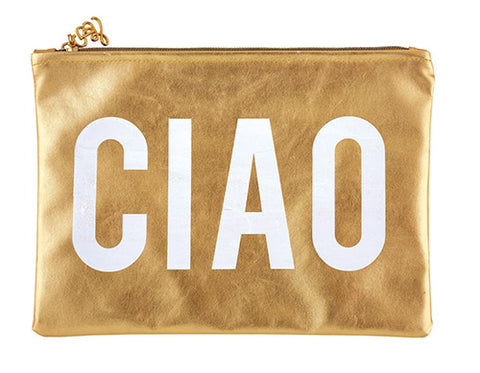 Ciao Zipper Gold White Cute/Cool/Unique Zipper Pouch/Bag/Clutch/Cosmetic Bag