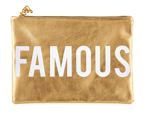 Famous Metallic Gold Cute/Cool/Unique Zipper Pouch/Bag/Clutch/Cosmetic Bag