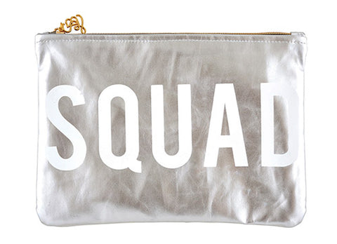 Squad Metallic Platinum/Silver Cute/Cool/Unique Zipper Pouch/Bag/Clutch/Cosmetic Bag