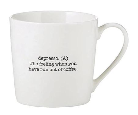 Depresso Meaning Cafe Mug in White Bone China
