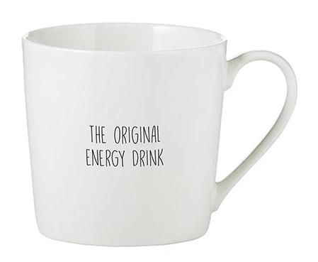 The Original Energy Drink Cafe Mug in White Bone China