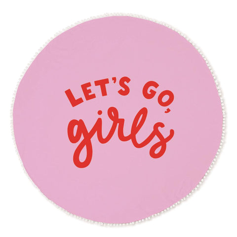 Let's Go Girls Round Beach Towel in Pink