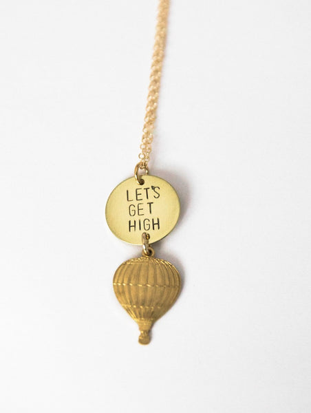 Let's Get High Hot Air Balloon Necklace in Brass or Silver