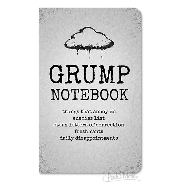 Big Grump Notebook in Cloudy Grey | 96 pages | Lined | Elastic Strap